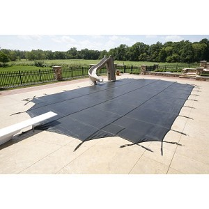 16' x 32' Rectangle Commercial Mesh Safety Pool Cover - 25yr Warranty - Black