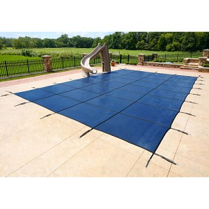 16' x 32' Rectangle Commercial Mesh Safety Pool Cover - 25yr Warranty - Blue