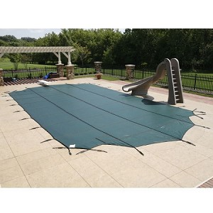 16' x 32' Rect Super Mesh Safety Cover w/ 4 x 8 Center End Step - 20yr - Green
