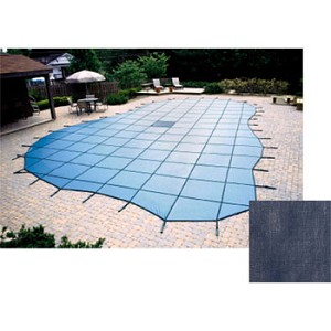 16' x 32' Rectangle Solid Safety Cover w/ Drain - 15 Warranty - Dark Blue
